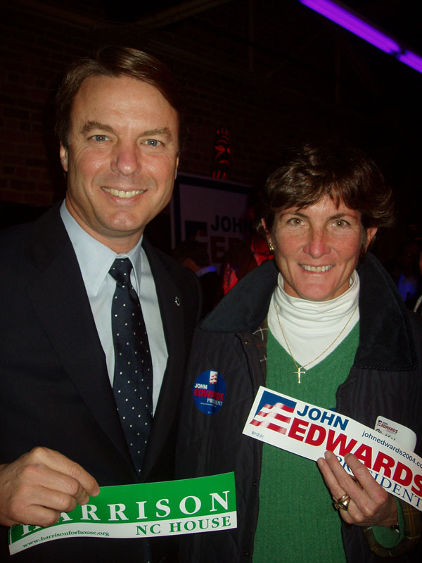 Pricey Harrison (with John Edwards) in happier times