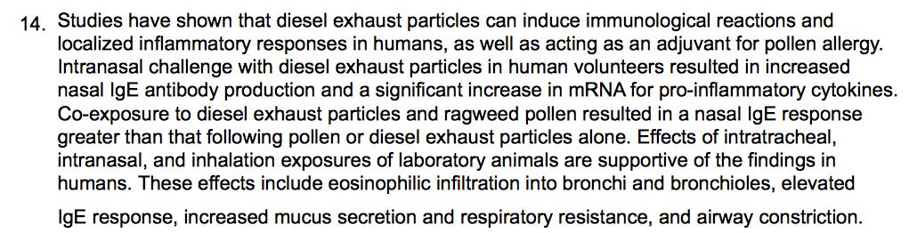 CARB diesel immunological