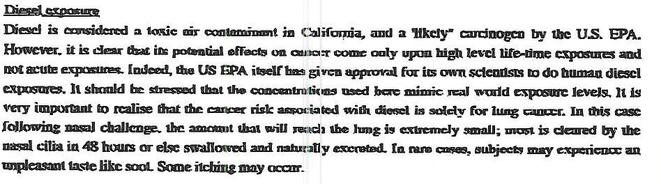 USC IRB app diesel toxicity clip