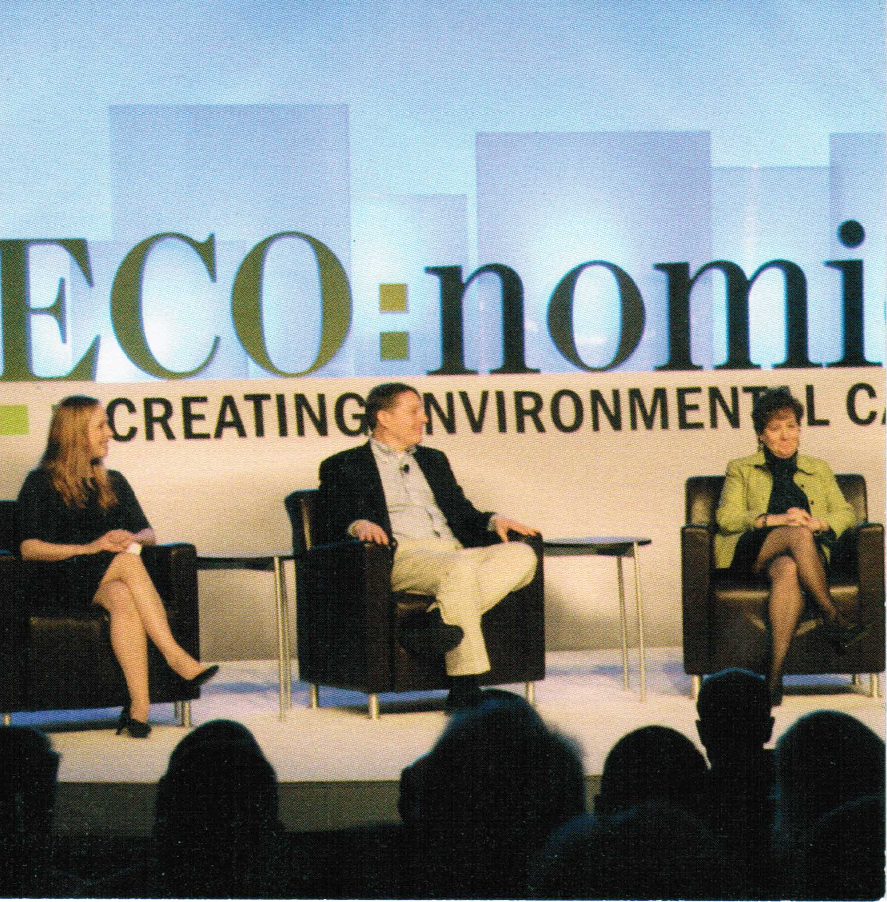Milloy at first the Wall Street Journal ECO:nomics conference, March 2008, with Kim Strassel (WSJ) and  Mindy Lubber (Ceres)