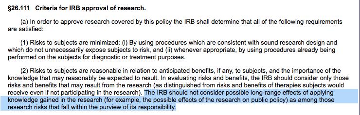 IRB criteria policy nono