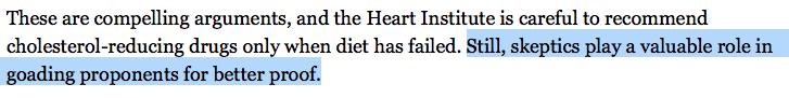 NYTimes Skeptics Cholesterol