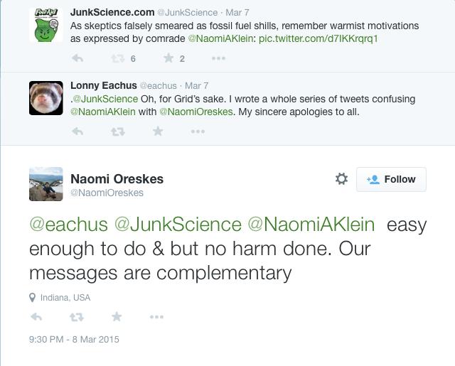 Oreskes admit Klein